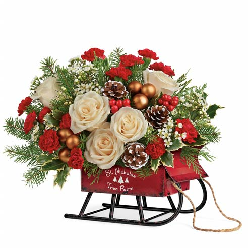 contemporary christmas flowers arrangement and christmas sleigh bouquet