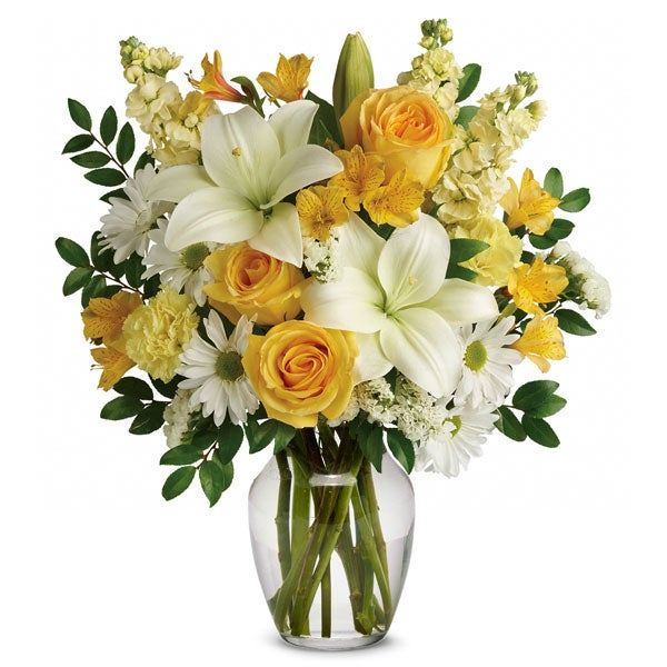 yellow flower bouquet with summer flowers, roses and cheap flowers for delivery
