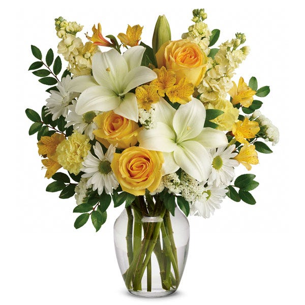 yellow flower bouquet with summer flowers, roses and summer flowers