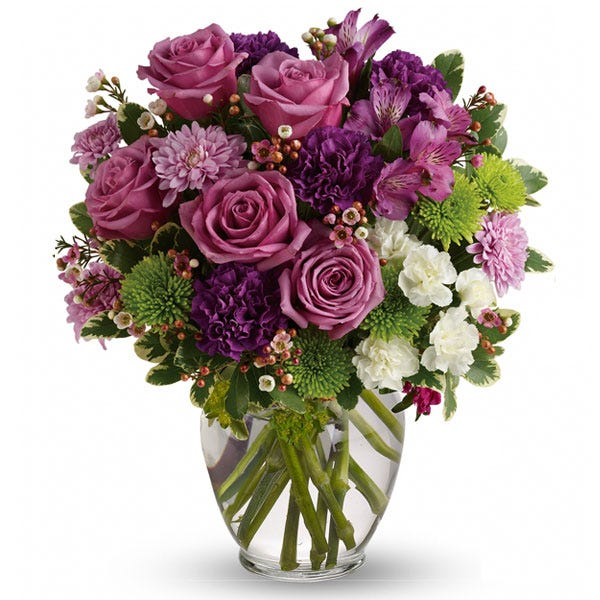 Dark purple rose and purple alstromeria flower bouquet with lavender chrysanthemums