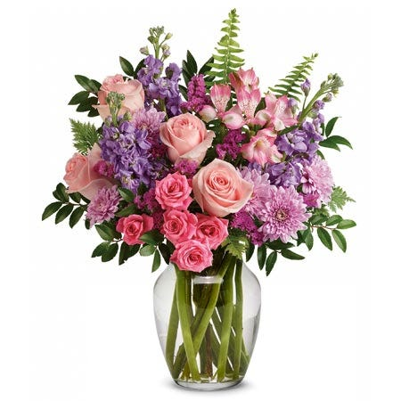 Same day flower delivery with pink roses, alstroemeria and cheap flowers