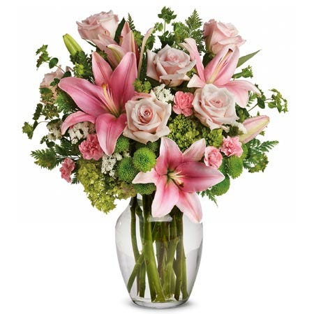 green pink flower bouquet with pink lily, pale rose and cheap premium flowers