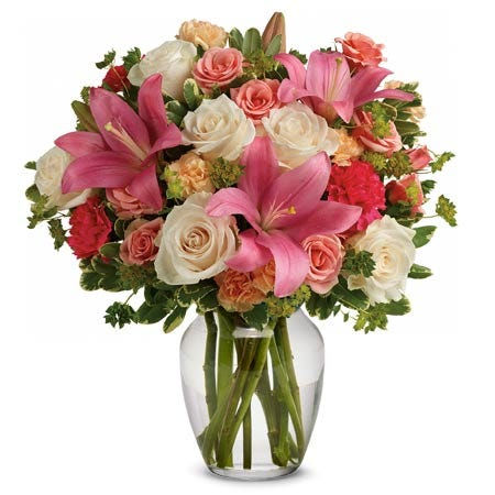 Mixed flower bouquet with pink lily, pale roses and miniature spray roses