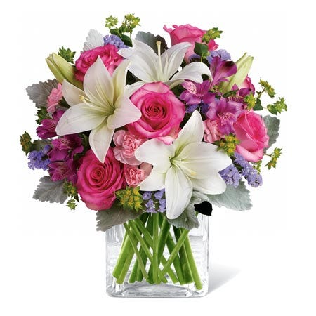 Hot pink rose and white lily bouquet with purple alstroemeria and lavender statice