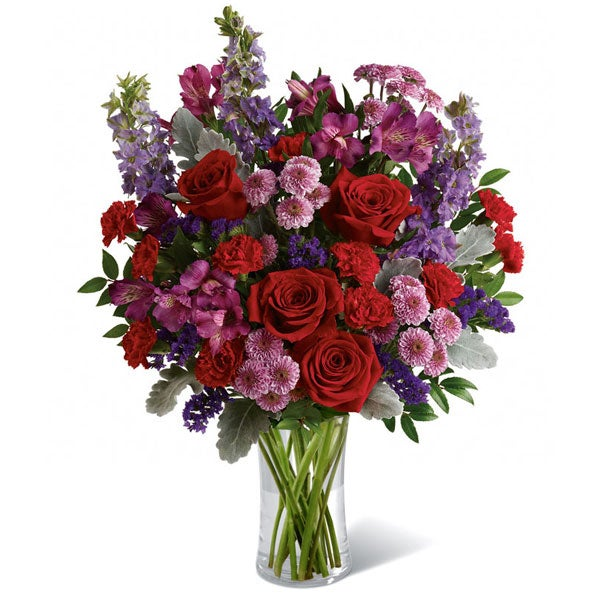 Romantic flower bouquet for cheap mothers day flowers delivery in heart charm vase