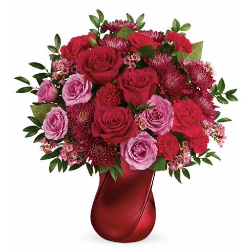 Red and lavender mixed roses bouquet with red and purple roses and purple chrysanthemums