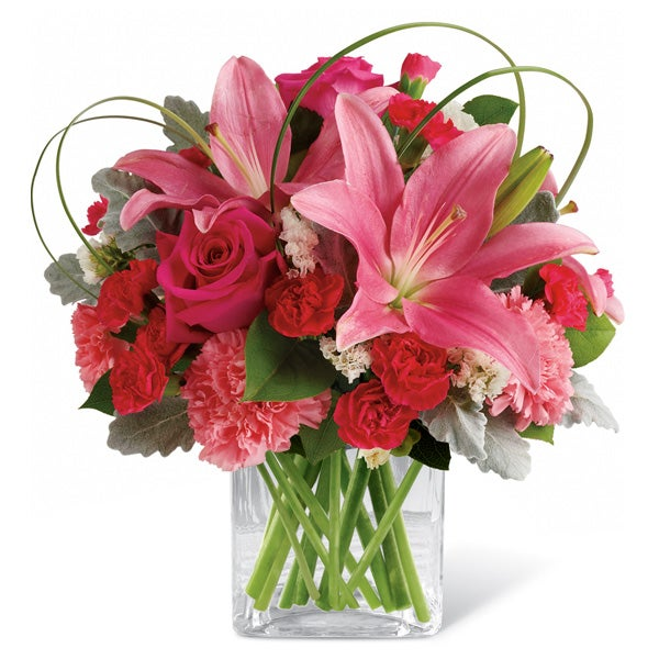 pink lily heart shaped vase mothers day flower delivery online
