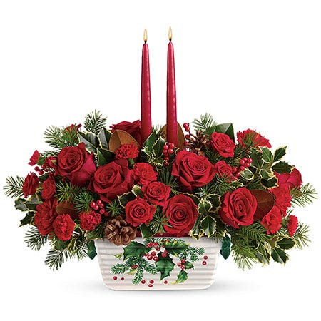 Christmas flower red rose and candles centerpiece delivery same day