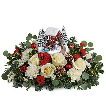 Thomas Kinkade Christmas Centerpiece, holiday village flower centerpiece gift