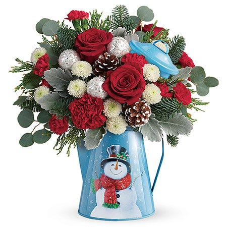 Snowman Christmas Flowers Bouquet, blue water can christmas flowers bouquet