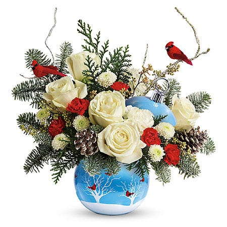 cardinal flower ornament bouquet with white roses red carnations and cardinal birds