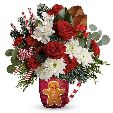 Gingerbread man flower coffee mug bouquet for same day christmas flower delivery