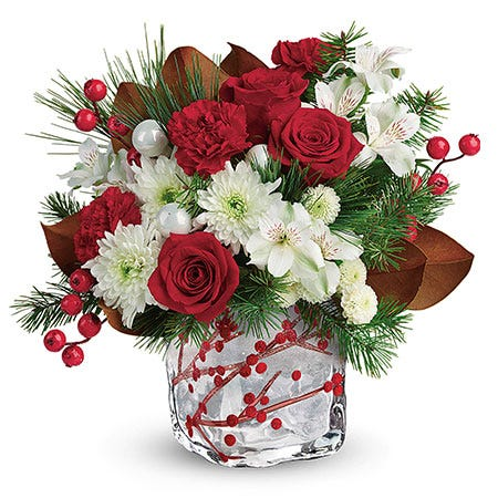 Holiday berry arrangement delivery and same day christmas flower berry bouquet