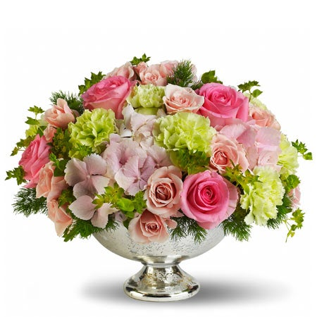 Cute valentine's day gift and art deco floral centerpiece delivery