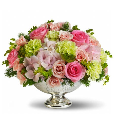 Luxury premium spring flowers centerpiece with hot pink roses and green carnations