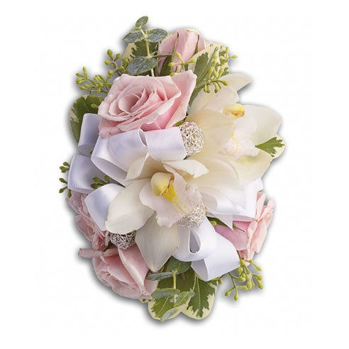 Pink flower corsage for same day corsage delivery of prom, formal and wedding flowers