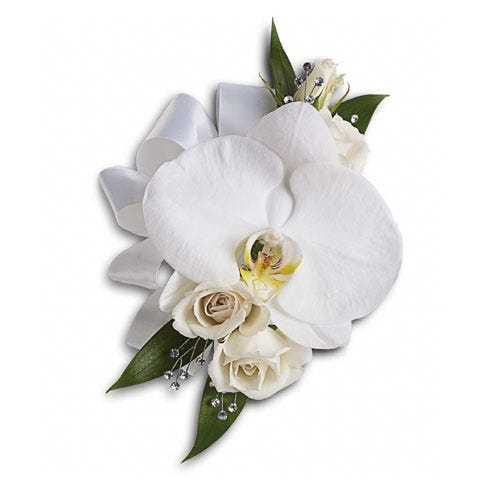 White phalaenopsis orchid flower corsage delivery with white spray roses