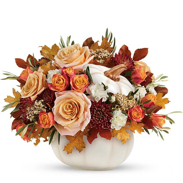 White pumpkin flowers arrangement with white roses and carnations and orange roses