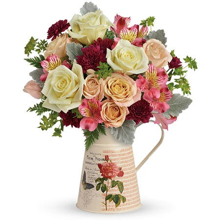 Peach rose flower pitcher bouquet with peach roses white roses pink alstroemeria
