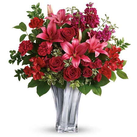 Valentine's Day flower delivery and luxury pink lily red rose bouquet