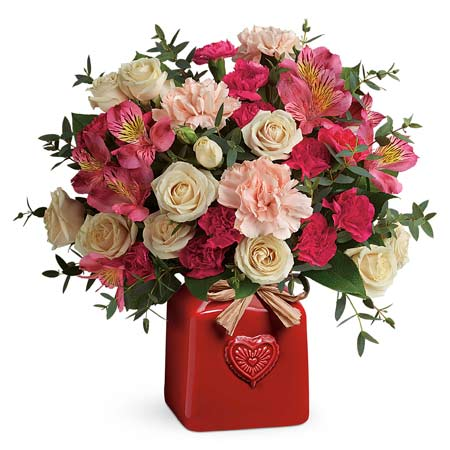 Rustic Valentine's Day flower delivery from Send Flowers with heart print vase
