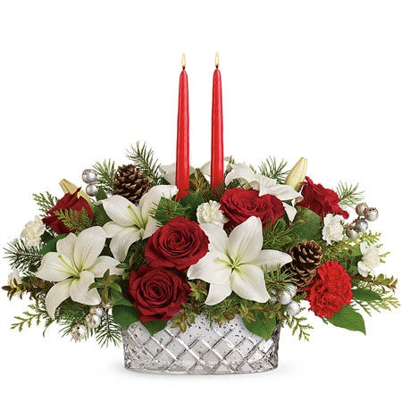 Rose and Lily Holiday Centerpiece