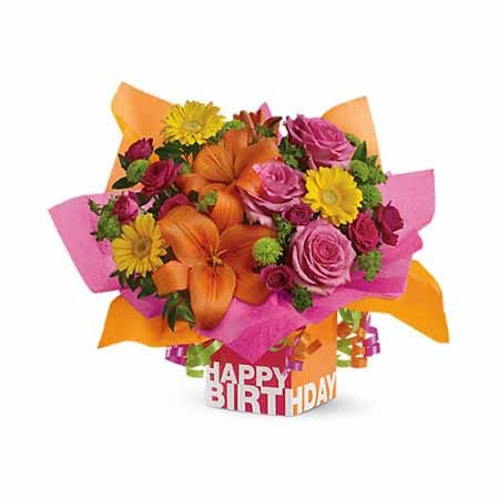 Happy Birthday orange lily and pink rose gift box flower bouquet