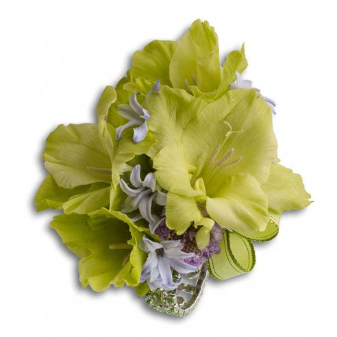 green flower corsage delivery same day with green gladiolus and cheap flowers
