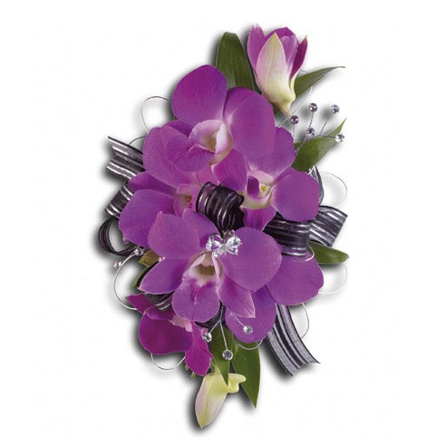 Cheap corsage delivery, a cheap purple flower corsage same day delivery