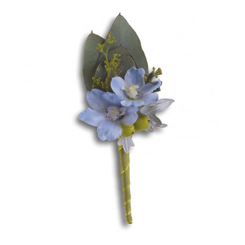 Blue delphinium boutonniere, a wedding flowers or prom boutonniere delivery