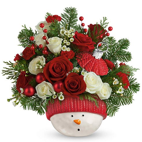 Joyous Snowman Ornament Bouquet