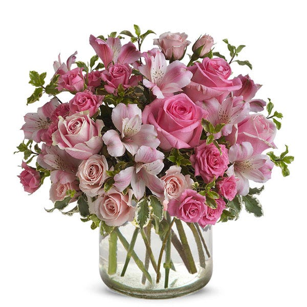 Potpourri pink rose mixed bouquet with pink alstroemeria and french country pot