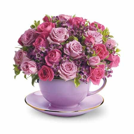 Cup of Purple Roses Bouquet with cheap flowers from sendflowers