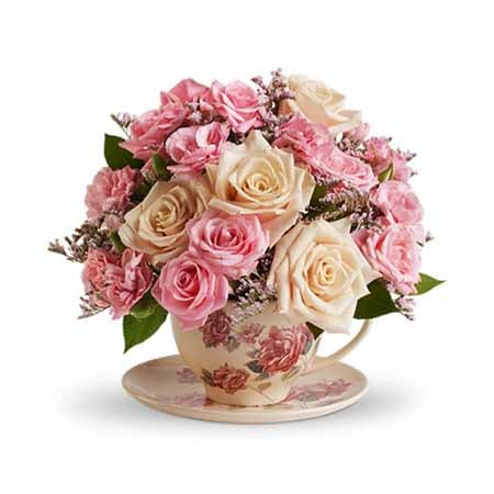 Mothers Day specialty flower vase delivery with pink roses in a teacup