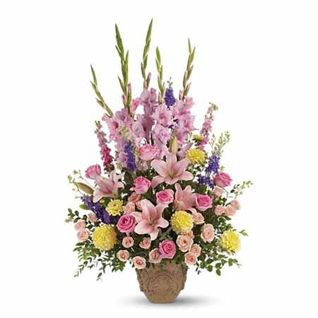 Pink lily sympathy flowers, shop the cheap sympathy flowers now