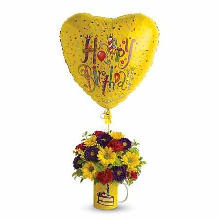 Happy Birthday Flowers In A Mug At Send Flowers