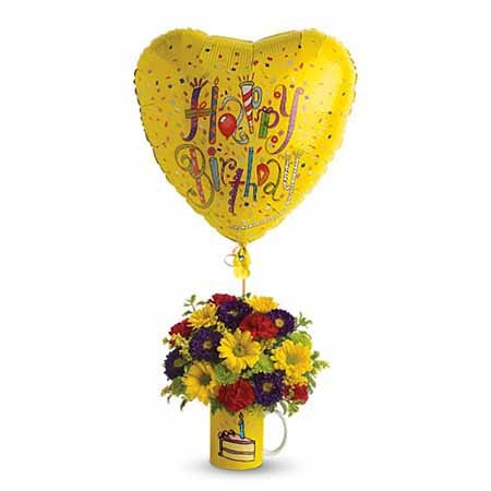 Happy Birthday flower cup and balloon bouquet with yellow gerbera daisies