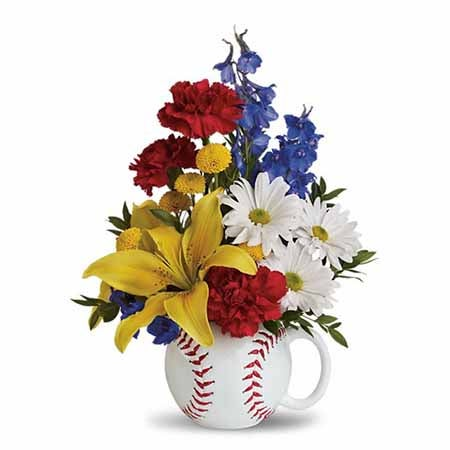 Flower delivery for baseball fans, baseball flower arrangement delivery for fathers day