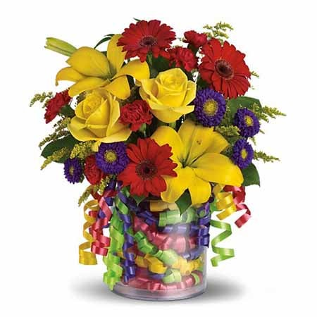 Buy happy birthday ribbon flower bouquet and other cheap flowers