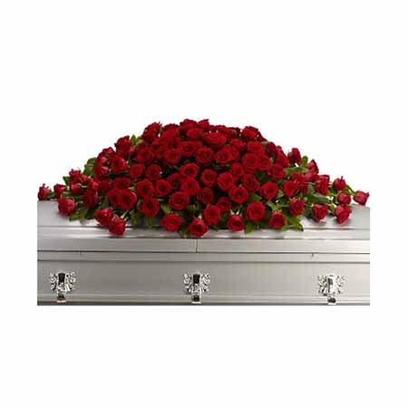Red rose casket spray at send flowers for cheap funeral flowers