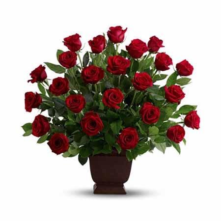 Dark red roses urn funeral flower arrangement with dark black urn included