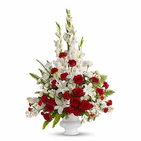 White lilies and red flowers for memorial day delivery