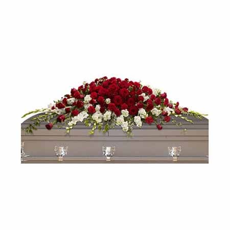 Red rose casket spray online at send flowers selling cheap funeral flowers