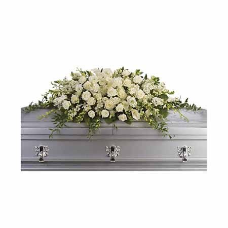 White standing spray, casket flowers and casket sprays online at send flowers