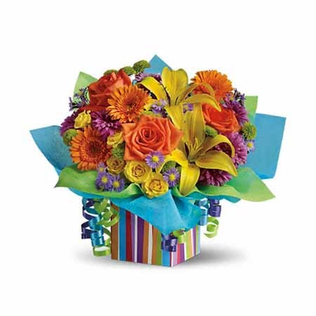 Neon flower bouquet with cheap flowers and pastel ribbons, happy birthday bouquet