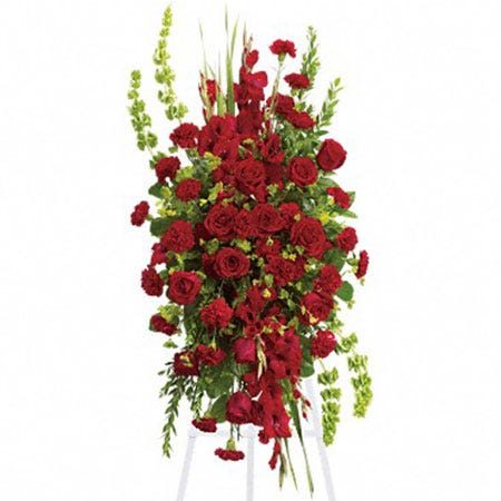 oval red rose standing spray delivery with roses, carnations, gladioli and cheap flowers