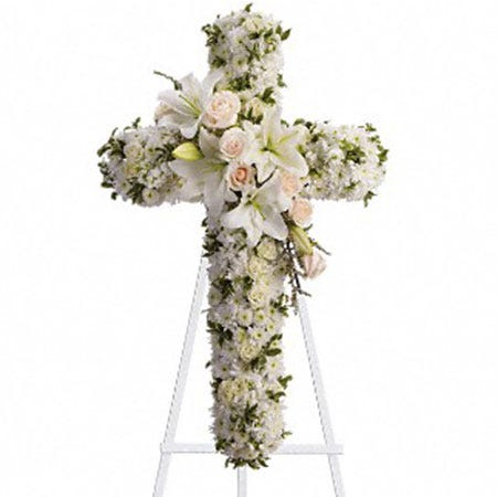 white rose cross standing spray, cheap standing spray delivery from send flowers