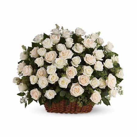 Rose basket and white roses delivery in a large whicker basket