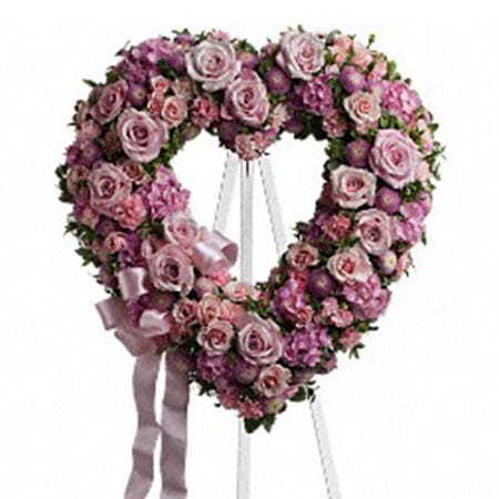 funeral heart shape standing spray, pink roses heart funeral spray delivery