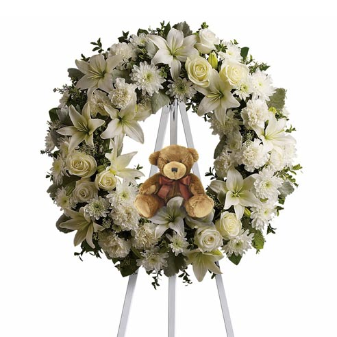 Sympathy flowers for baby boy and funeral flowers baby boy standing spray wreath